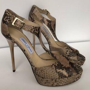 New Jimmy Choo Platform Snakeskin Heels 40.5